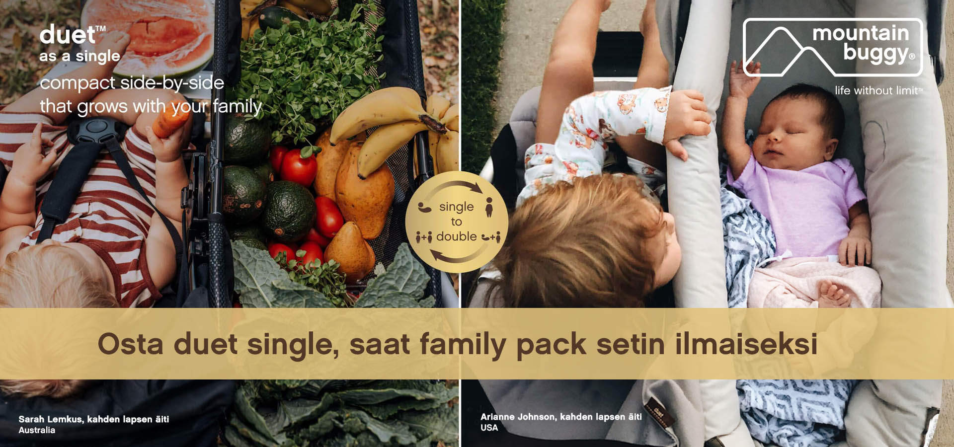 Osta Mountain Buggy Duet Single, saat Family pack ilmaiseksi - Vaunu-aitta